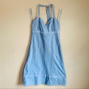EUC blue cotton dress size 6 midi LOFT halter
